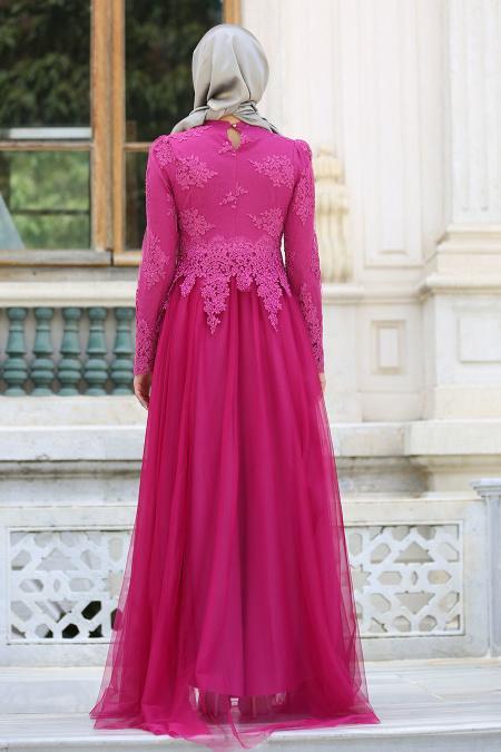 Tesettürlü Abiye Elbise - Dantelli Boncuk Detaylı Fuşya Tesettür Abiye Elbise 7691F