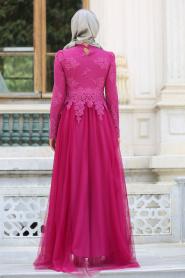 Tesettürlü Abiye Elbise - Dantelli Boncuk Detaylı Fuşya Tesettür Abiye Elbise 7691F - Thumbnail