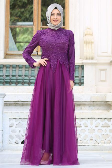Tesettürlü Abiye Elbise - Dantelli Boncuk Detaylı Mor Tesettür Abiye Elbise 7691MOR