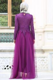 Tesettürlü Abiye Elbise - Dantelli Boncuk Detaylı Mor Tesettür Abiye Elbise 7691MOR - Thumbnail