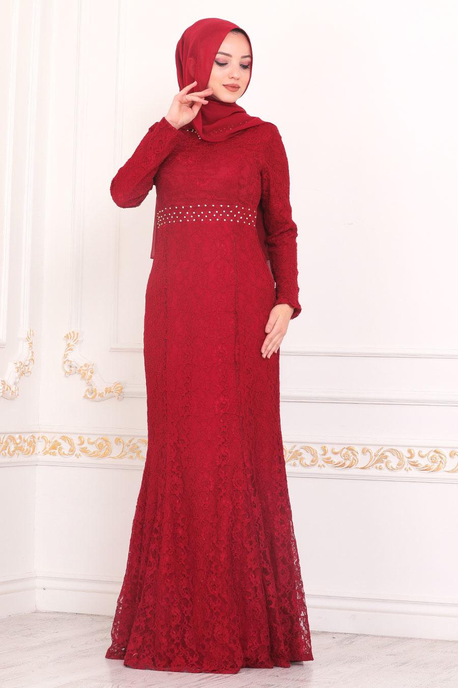 Tesettürlü Abiye Elbise - Dantelli Bordo Tesettür Abiye Elbise 2144BR