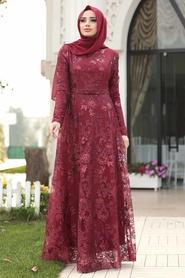 Tesettürlü Abiye Elbise - Dantelli Bordo Tesettür Abiye Elbise 8681BR - Thumbnail