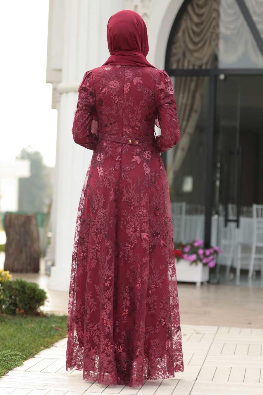 Tesettürlü Abiye Elbise - Dantelli Bordo Tesettür Abiye Elbise 8681BR