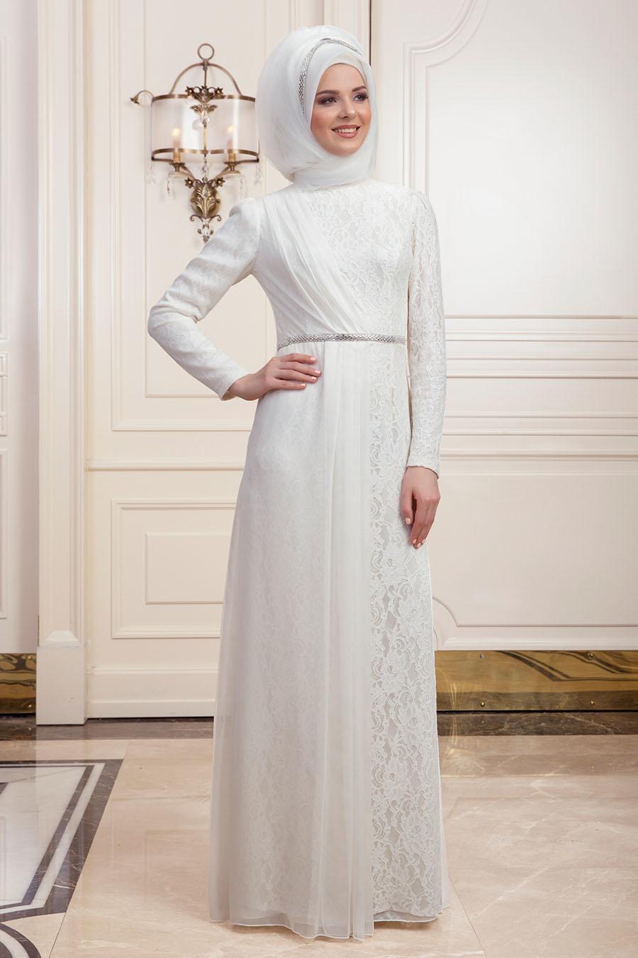 Tesettürlü Abiye Elbise - Dantelli Ekru Tesettür Abiye Elbise 191901E