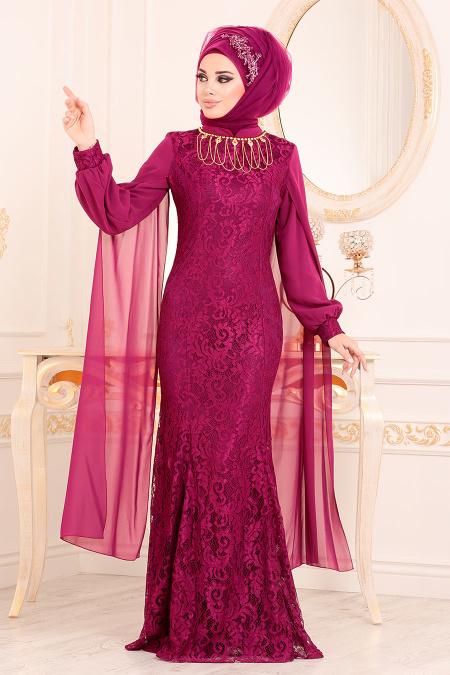 Tesettürlü Abiye Elbise - Dantelli Fuşya Tesettür Abiye Elbise 40180F