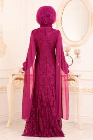 Tesettürlü Abiye Elbise - Dantelli Fuşya Tesettür Abiye Elbise 40180F - Thumbnail