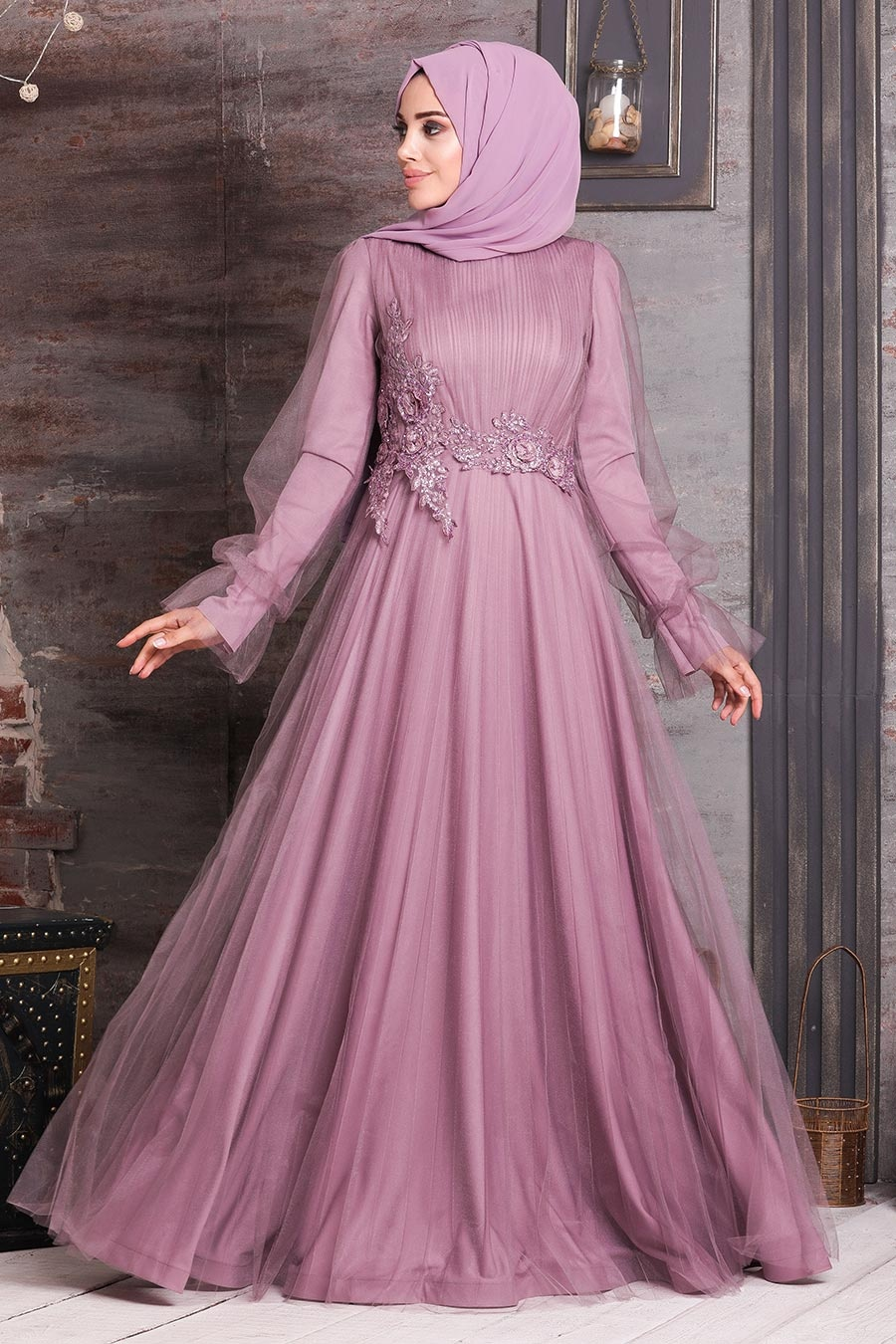 Tesettürlü Abiye Elbise - Dantelli Gül Kurusu Tesettür Abiye Elbise 21710GK