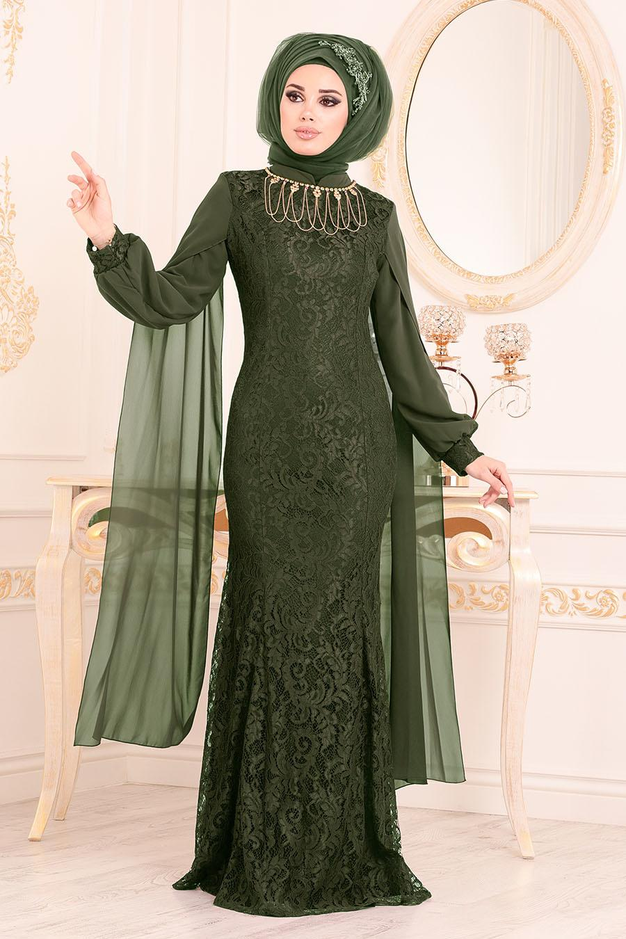 Tesettürlü Abiye Elbise - Dantelli Haki Tesettür Abiye Elbise 40180HK