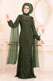 Tesettürlü Abiye Elbise - Dantelli Haki Tesettür Abiye Elbise 40180HK - Thumbnail