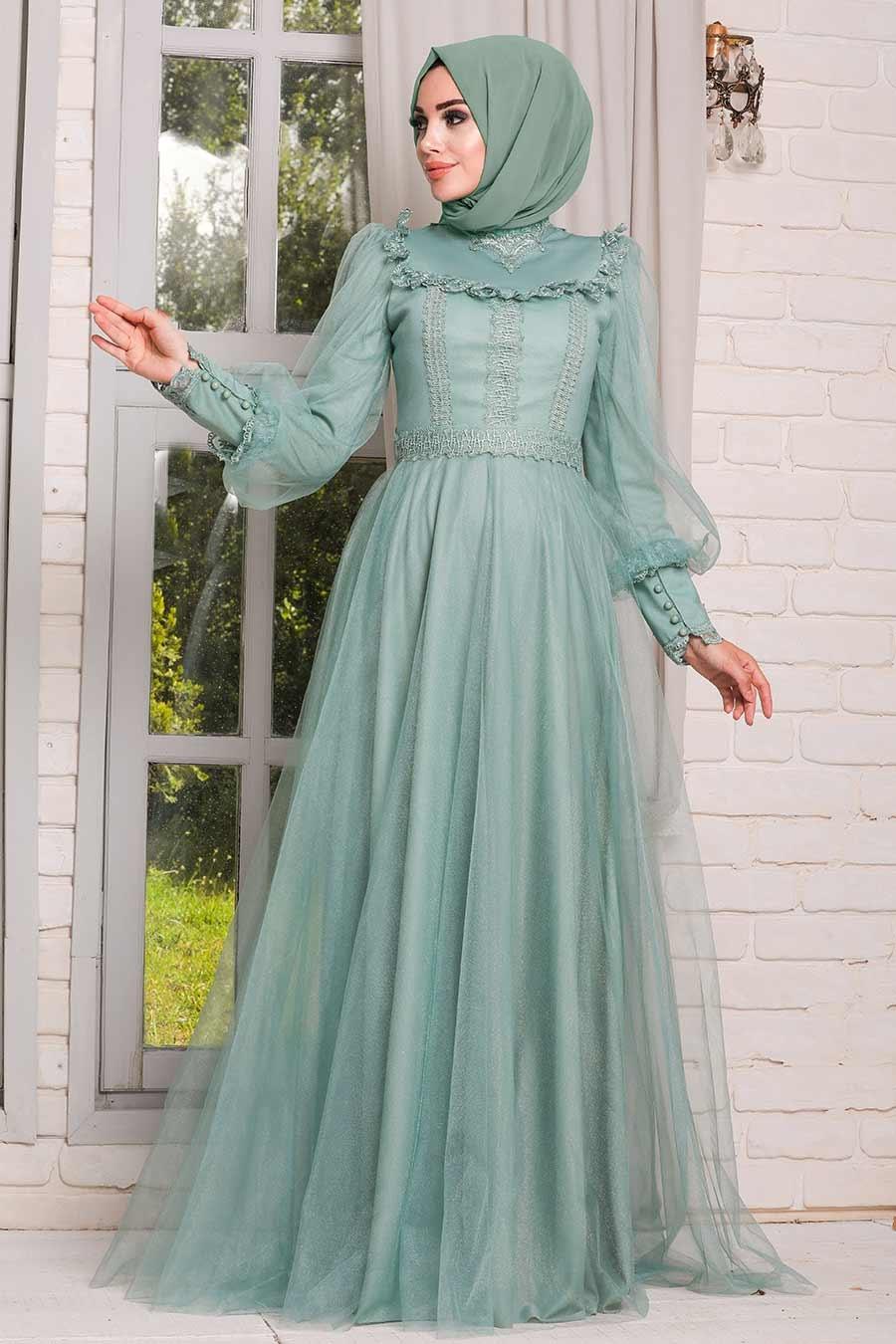 Tesettürlü Abiye Elbise - Dantelli Mint Tesettür Abiye Elbise 21790MINT