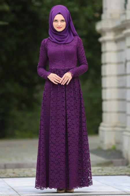Tesettürlü Abiye Elbise - Dantelli Mor Tesettür Abiye Elbise 7774MOR
