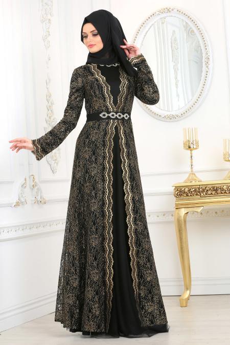 Tesettürlü Abiye Elbise - Dantelli Siyah Tesettür Abiye Elbise 2011S