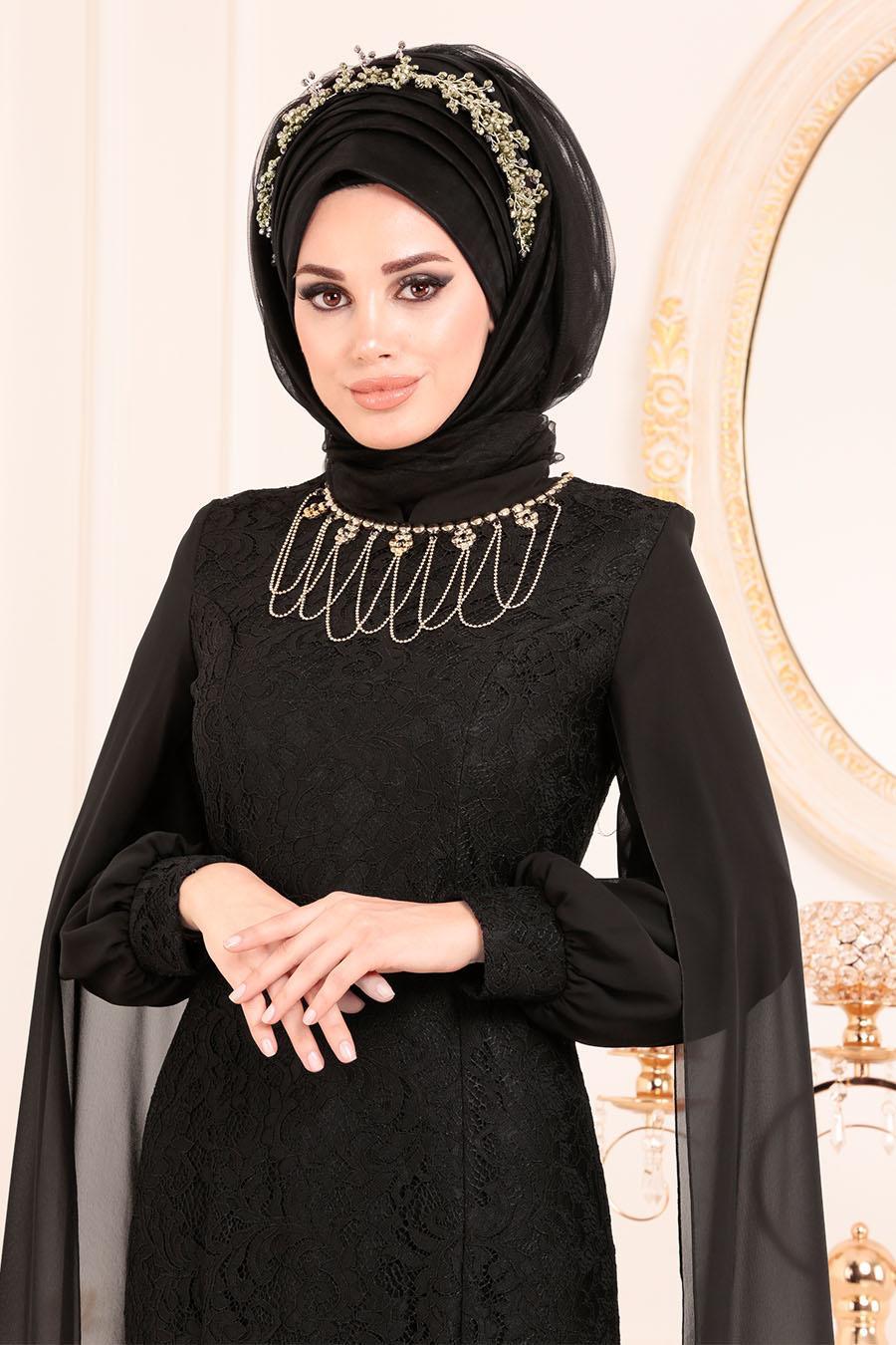 Tesettürlü Abiye Elbise - Dantelli Siyah Tesettür Abiye Elbise 40180S