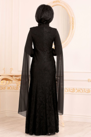 Tesettürlü Abiye Elbise - Dantelli Siyah Tesettür Abiye Elbise 40180S - Thumbnail