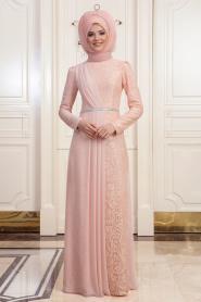 Tesettürlü Abiye Elbise - Dantelli Somon Tesettür Abiye Elbise 191901SMN - Thumbnail