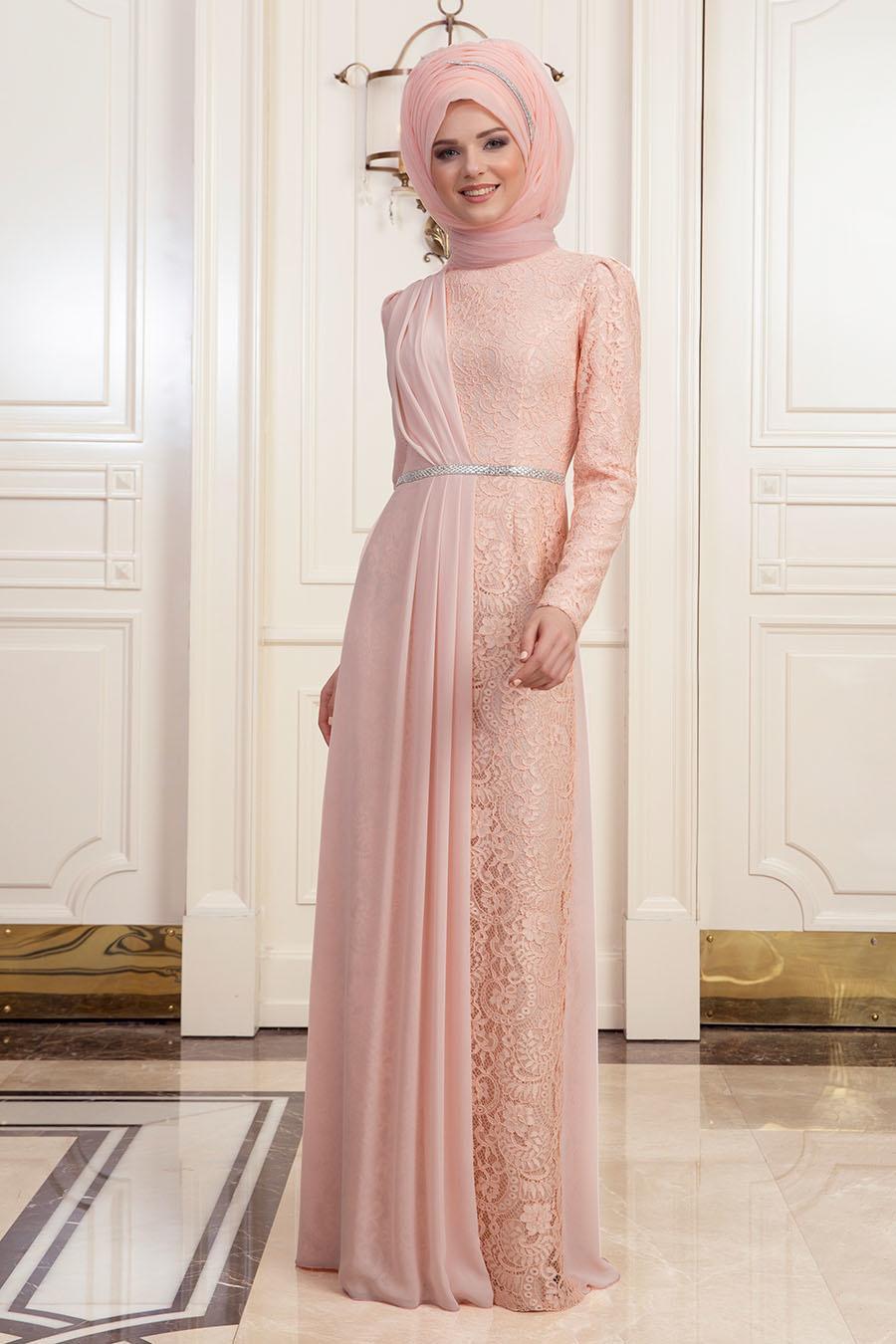 Tesettürlü Abiye Elbise - Dantelli Somon Tesettür Abiye Elbise 191901SMN