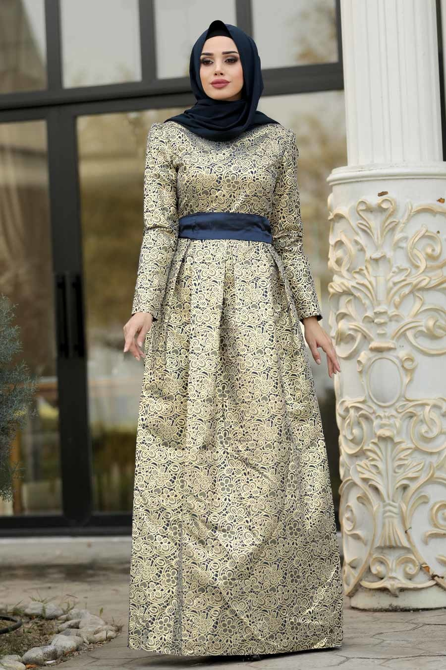 Tesettürlü Abiye Elbise - Desenli Lacivert Jakarlı Tesettür Abiye Elbise 82452L