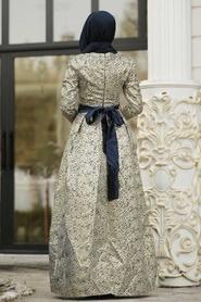 Tesettürlü Abiye Elbise - Desenli Lacivert Jakarlı Tesettür Abiye Elbise 82452L - Thumbnail