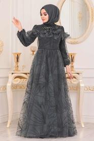 Tesettürlü Abiye Elbise - Desenli Petrol Yeşili Tesettür Abiye Elbise 41090PY - Thumbnail