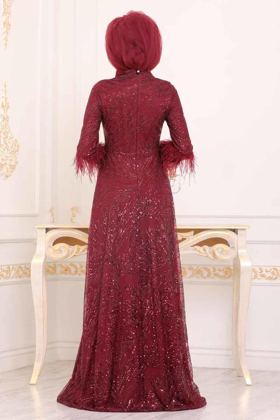 Tesettürlü Abiye Elbise - Desenli Pul Payetli Bordo Tesettür Abiye Elbise 39191BR