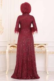 Tesettürlü Abiye Elbise - Desenli Pul Payetli Bordo Tesettür Abiye Elbise 39191BR - Thumbnail