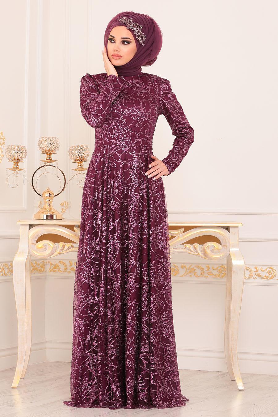 Tesettürlü Abiye Elbise - Desenli Pul Payetli Fuşya Tesettürlü Abiye Elbise 196705F