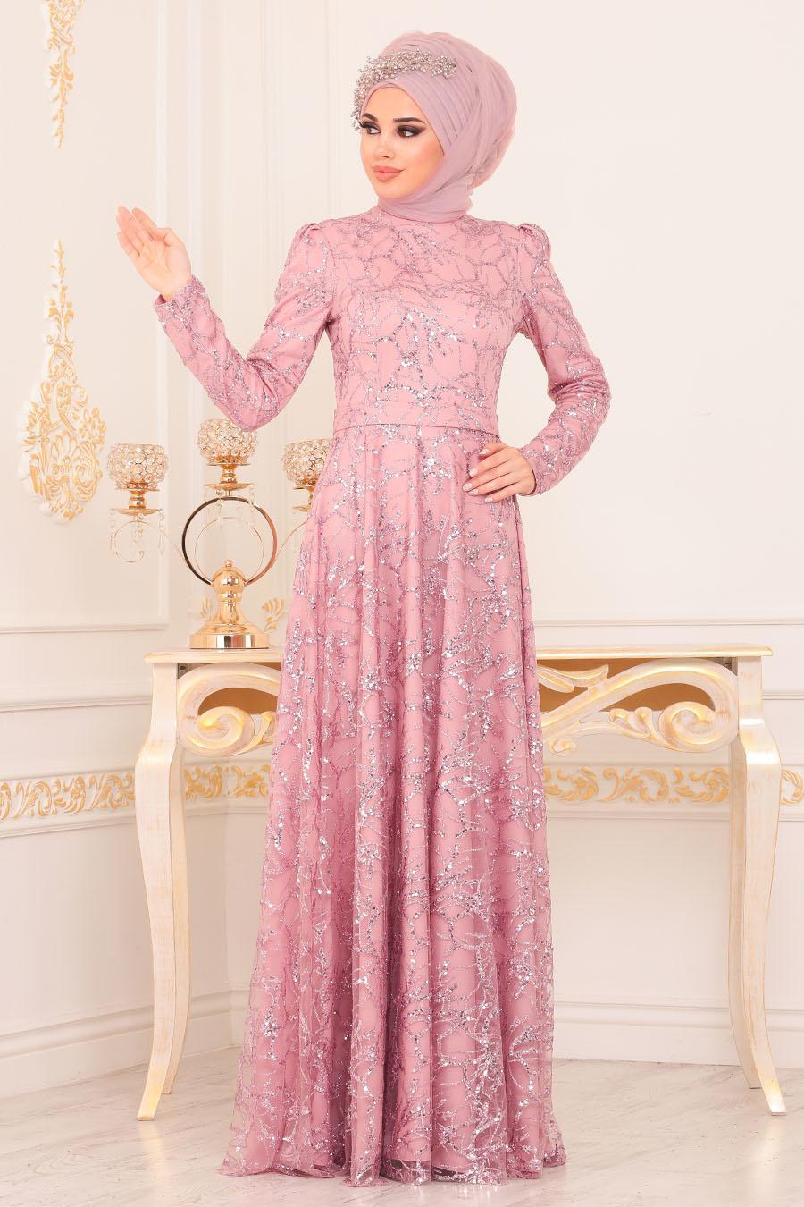 Tesettürlü Abiye Elbise - Desenli Pul Payetli Pudra Tesettürlü Abiye Elbise 196705PD