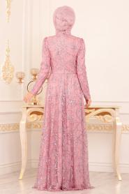Tesettürlü Abiye Elbise - Desenli Pul Payetli Pudra Tesettürlü Abiye Elbise 196705PD - Thumbnail