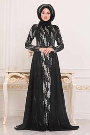 Tesettürlü Abiye Elbise - Desenli Pul Payetli Siyah Tesettür Abiye Elbise 257401S - Thumbnail