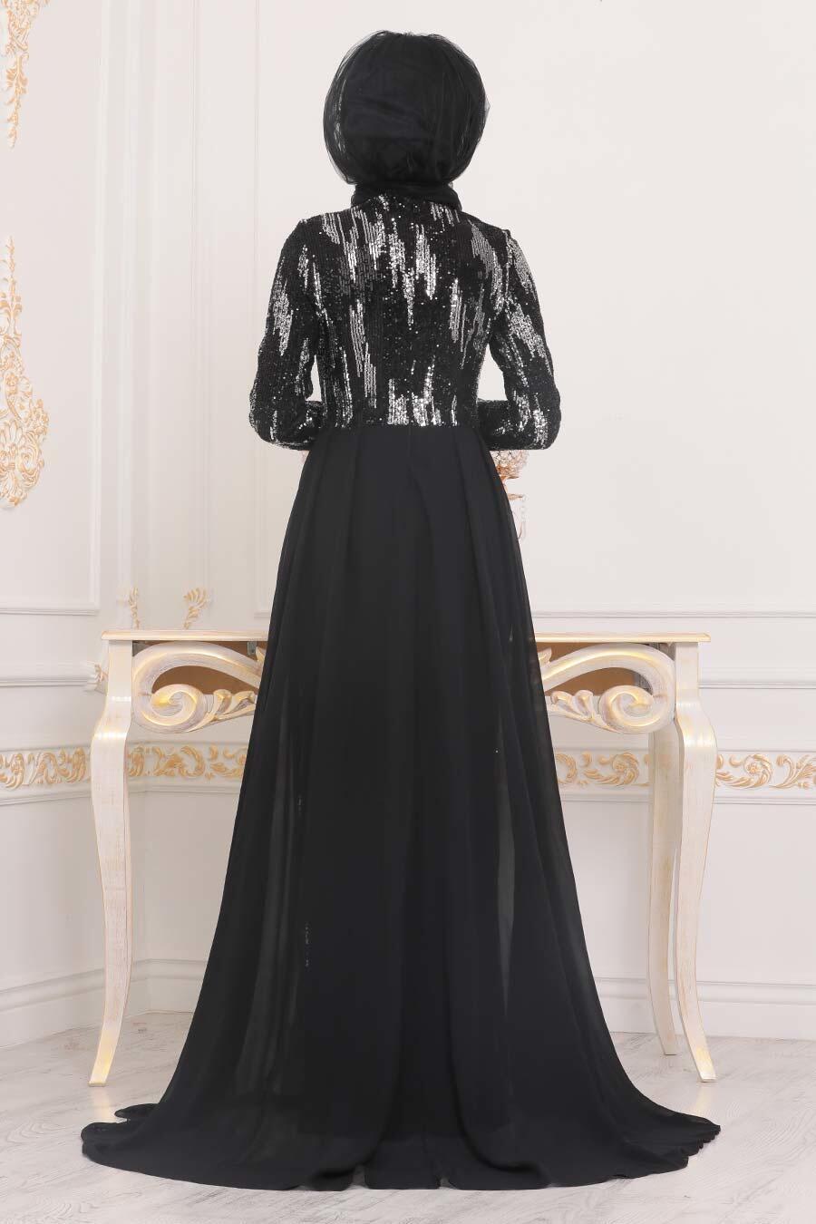 Tesettürlü Abiye Elbise - Desenli Pul Payetli Siyah Tesettür Abiye Elbise 257401S