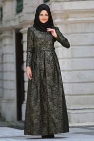Tesettürlü Abiye Elbise - Desenli Siyah Tesettür Abiye Elbise 24414S - Thumbnail