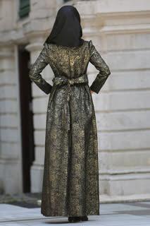 Tesettürlü Abiye Elbise - Desenli Siyah Tesettür Abiye Elbise 24414S