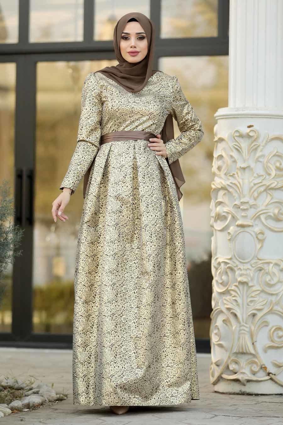 Tesettürlü Abiye Elbise - Desenli Vizon Jakarlı Tesettür Abiye Elbise 82452V