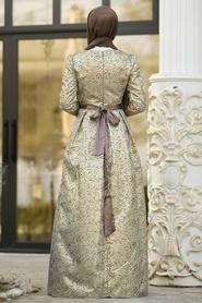 Tesettürlü Abiye Elbise - Desenli Vizon Jakarlı Tesettür Abiye Elbise 82452V - Thumbnail