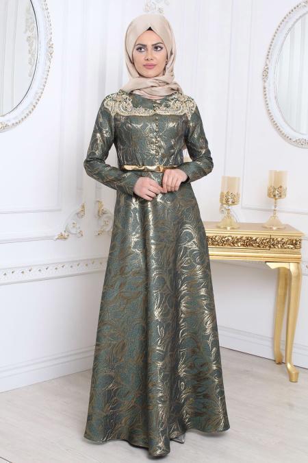 Tesettürlü Abiye Elbise - Desenli Yeşil Tesettür Abiye Elbise 7974Y