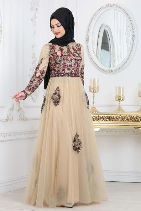 Tesettürlü Abiye Elbise - Detaylı Bordo Tesettür Abiye Elbise 7501BR