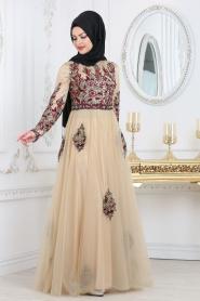 Tesettürlü Abiye Elbise - Detaylı Bordo Tesettür Abiye Elbise 7501BR - Thumbnail