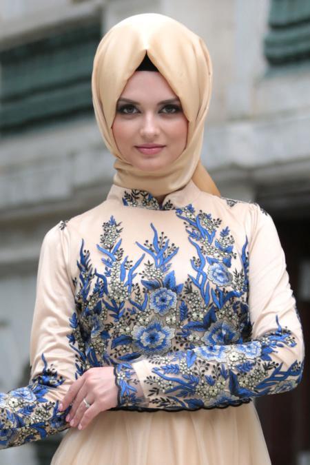 Tesettürlü Abiye Elbise - Detaylı Lacivert Tesettür Abiye Elbise 7501L