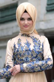 Tesettürlü Abiye Elbise - Detaylı Lacivert Tesettür Abiye Elbise 7501L - Thumbnail