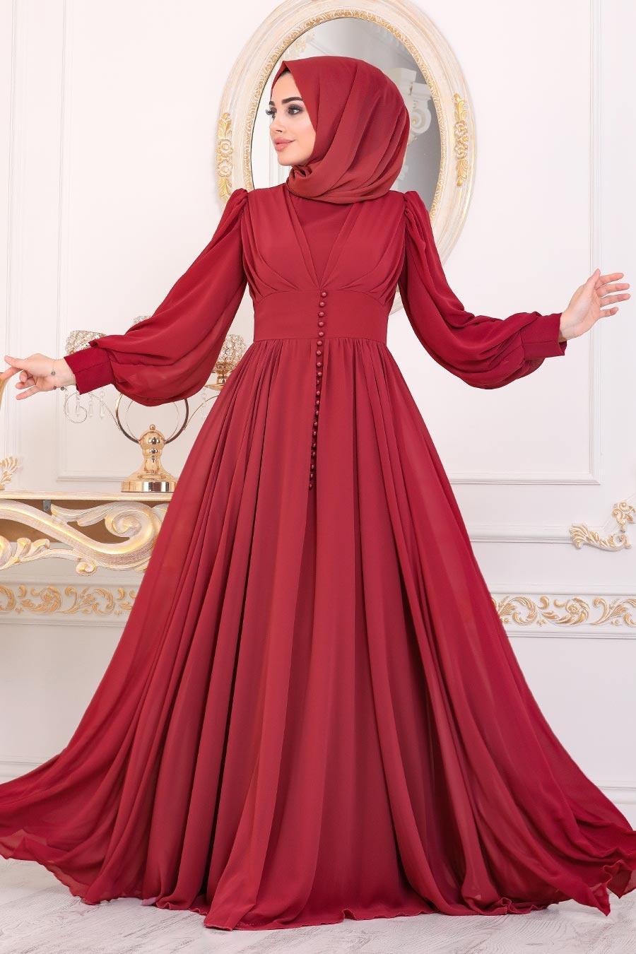 Tesettürlü Abiye Elbise - Düğme Detaylı Bordo Tesettür Abiye Elbise 41011BR