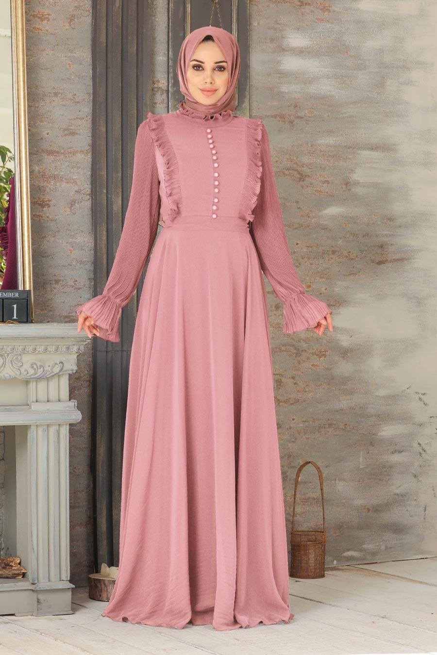 Tesettürlü Abiye Elbise - Düğme Detaylı Gül Kurusu Tesettür Abiye Elbise 2739GK