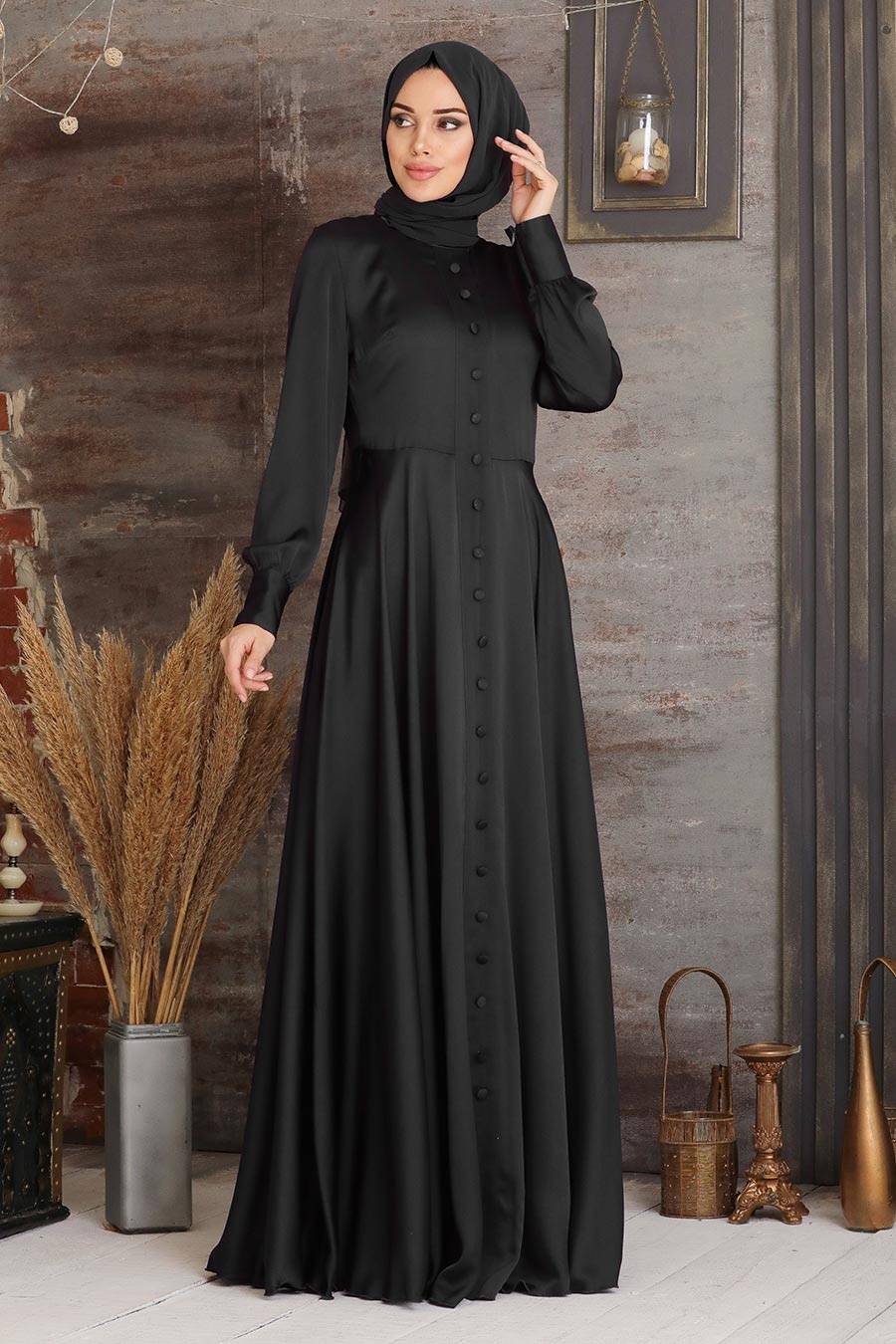 Tesettürlü Abiye Elbise - Düğmeli Siyah Tesettür Abiye Elbise 25520S