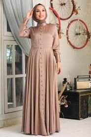 Tesettürlü Abiye Elbise - Düğmeli Vizon Tesettür Abiye Elbise 25520V - Thumbnail