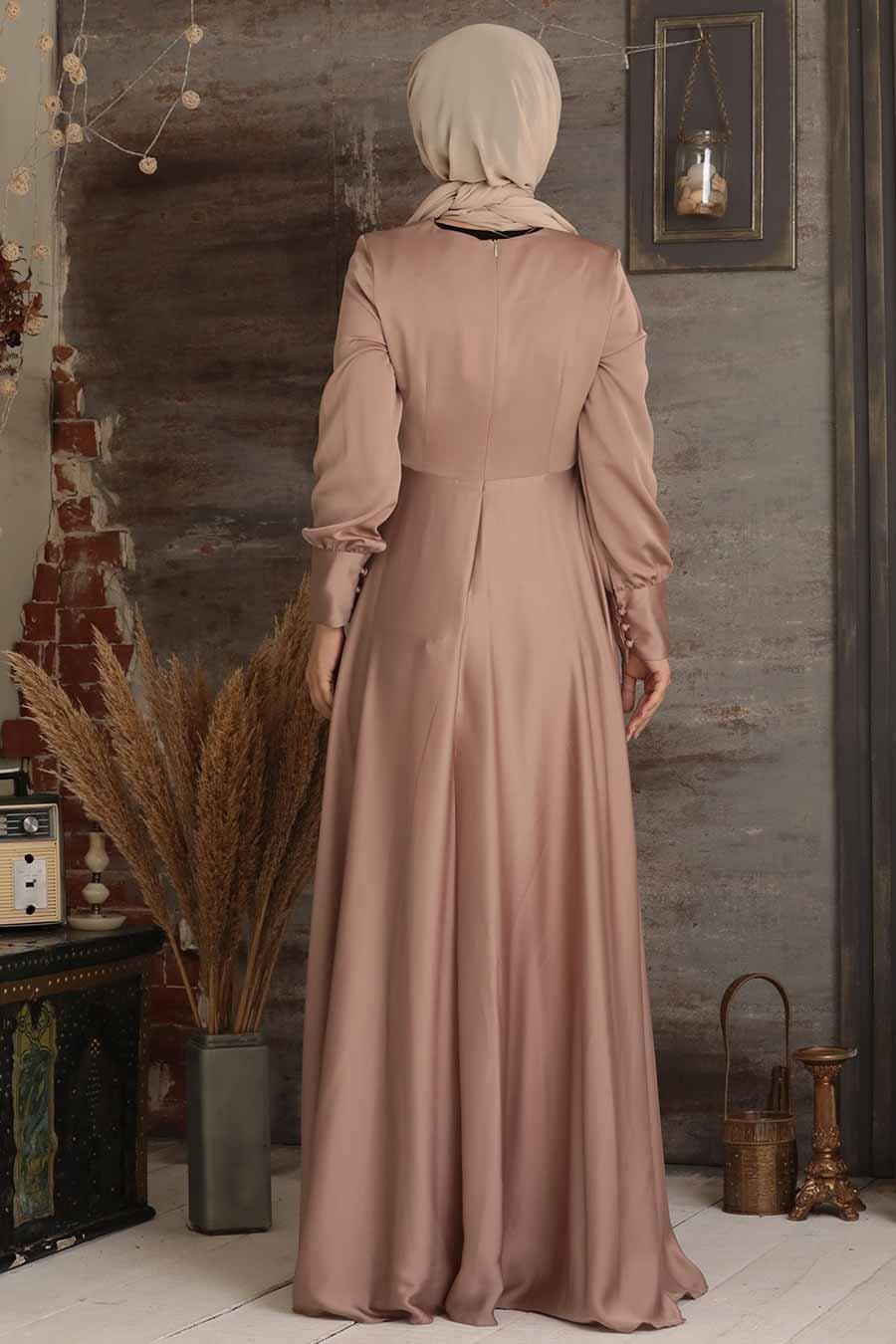 Tesettürlü Abiye Elbise - Düğmeli Vizon Tesettür Abiye Elbise 25520V