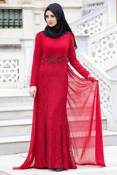 Tesettürlü Abiye Elbise - Eteği Dantelli Bordo Elbise 2222BR