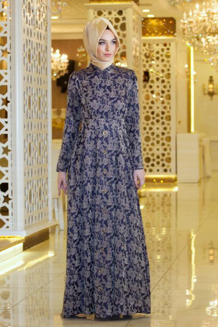 Tesettürlü Abiye Elbise - Eteği Düğme Detaylı Desenli Lacivert Elbise