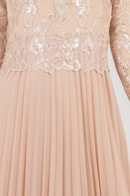 Tesettürlü Abiye Elbise - Eteği Pileli Bej Tesettür Abiye Elbise 8240BEJ - Thumbnail