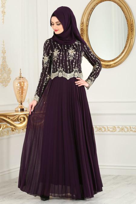 Tesettürlü Abiye Elbise - Eteği Pliseli Mor Tesettür Abiye Elbise 77220MOR