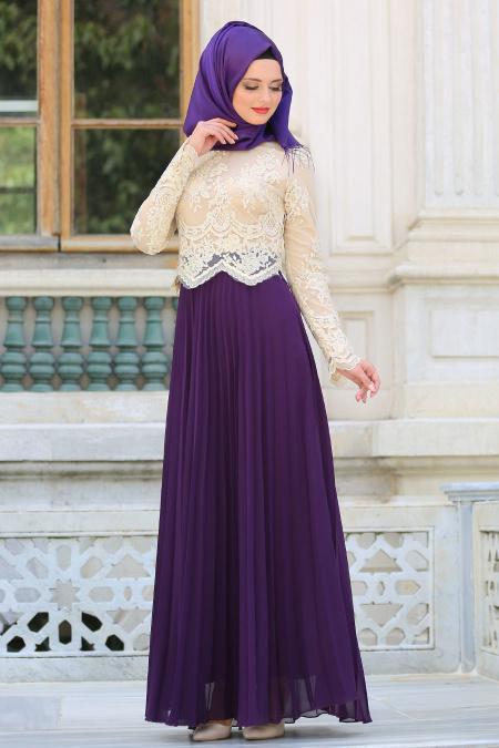 Tesettürlü Abiye Elbise - Eteği Pliseli Mor Tesettür Abiye Elbise 7722MOR
