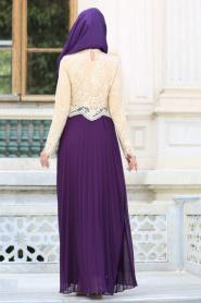 Tesettürlü Abiye Elbise - Eteği Pliseli Mor Tesettür Abiye Elbise 7722MOR - Thumbnail